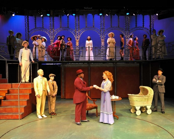 l to r:  Todd Ritch, on steps, (as Youngrer Brother), Grant Albright (as The Little Boy), Fataye (as Coalhouse Walker), Victoria Lauzun (as Mother), Craig Waletzko (as Father) and the ensemble perform ''New Music.''