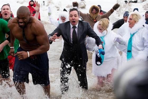 JIMMY FALLON Takes Icy 'Polar Plunge' in Lake Michigan!