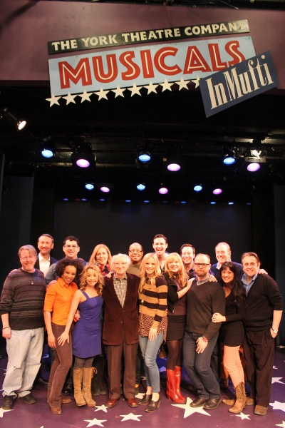 The company:  (front row L to R)  Christopher McGovern, Debra Walton, Jennifer Cody, Sheldon Harnick, Katie Rose Clarke, Jillian Louis, Carl Andress, Diane Phelan, Michael McCormick;  (back row L to R) Jay Russell, Kendal Sparks, Marcy McGuigan, Wayne Pre