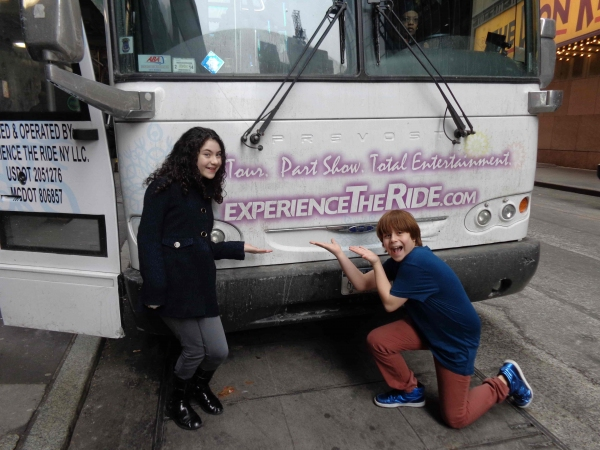 Lilla Crawford (Annie) and Jonah Verdon (Disaster!) outside THE RIDE
