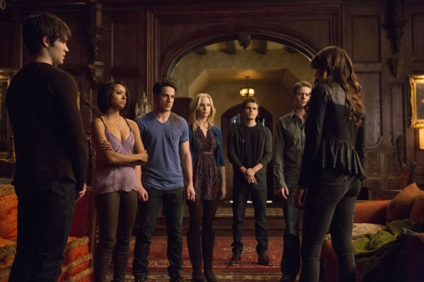 The Vampire Diaries -- ''Gone Girl'' -- Image Number: VD515a_0005.jpg -- Pictured (L-R): Steven R. McQueen as Jeremy, Kat Graham as Bonnie, Michael Trevino as Tyler, Candice Accola as Caroline, Paul Wesley as Stefan, Zach Roerig as Matt and Nina Dobrev as