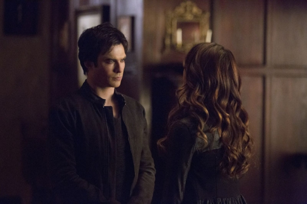 The Vampire Diaries -- ''Gone Girl'' -- Image Number: VD515a_0065.jpg -- Pictured (L-R): Ian Somerhalder as Damon and Nina Dobrev as Katherine (back to camera) -- Photo: Blake Tyers/The CW -- © 2014 The CW Network, LLC. All rights reserved