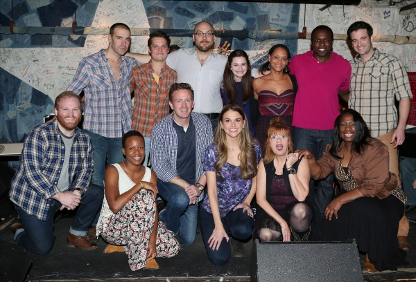 Front row: Jacob Keith Watson, Virginia Ann Woodruff, Ben Davis, Sutton Foster, Annie Golden, Anastacia McCleskey, Second row: Charlie Pollock, Austin Lesch, Alexander Gemignani, Emerson Steele, Rema Webb, Joshua Henry and Colin Donnell