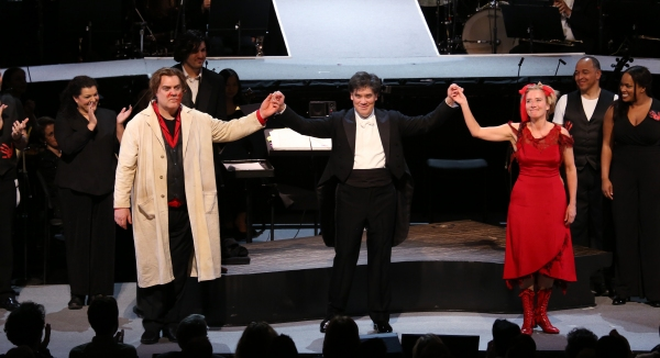 Byrn Terfel, Alan Gilbert and Emma Thompson