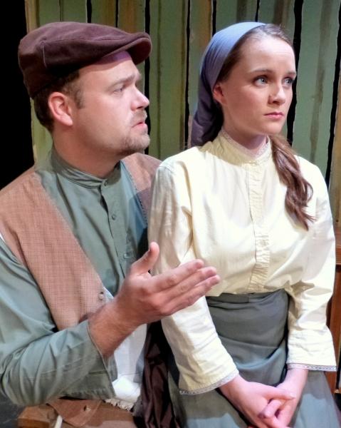 Perchik tells Hodel he must leave Anatevka. (from left: Spencer Johnson, Carly Linehan)