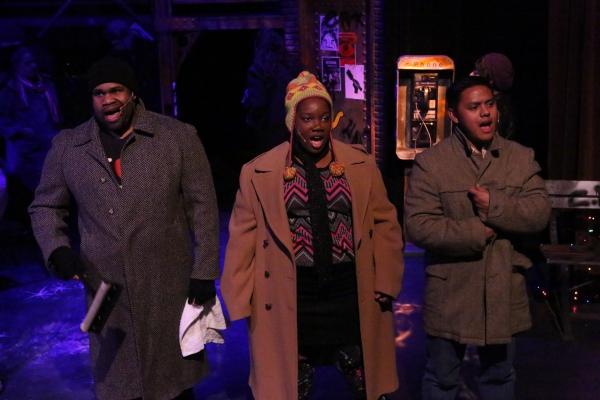 Robert Lee Davis III, Melissa Harris, and Kevin Corpuz as homeless people, singing ''On the Street''