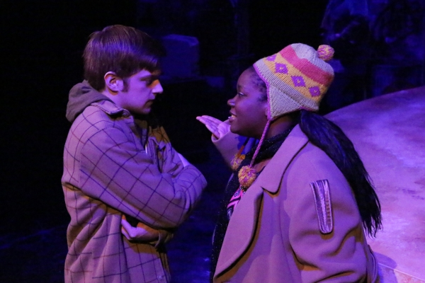 Jeremy Hyatt (Mark) being confronted by Melissa Harris (as an angry homeless woman),  Photo