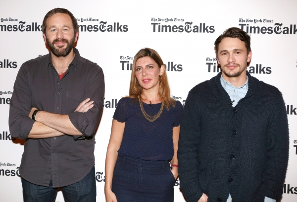 New York Times reporter Melena Ryzik with Chris O'Dowd and James Franco Photo