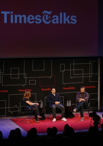 New York Times reporter Melena Ryzik with James Franco and Chris O'Dowd Photo