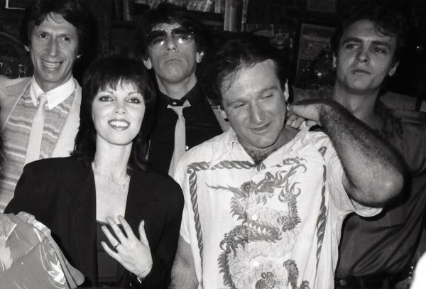 David Brenner, Richard Belzer, Pat Benatar, Robin Williams and Neil Giraldo on August 17, 1982 in New York City.