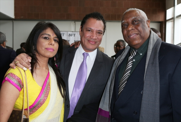 Ricardo Khan and fiancee with Woodie King Jr.
