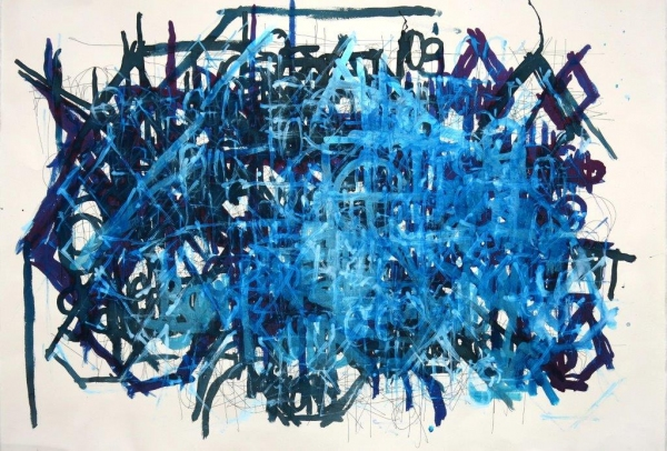 Dan Miller, Untitled, 2013, Acrylic and ink on paper, 30 x 44.5 inches, Creative Growth Art Center