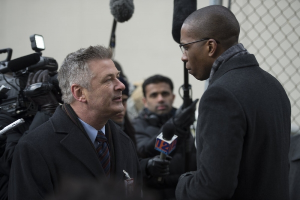 LAW & ORDER: SPECIAL VICTIMS UNIT -- ''Criminal Stories'' Episode 1518 -- Pictured: (l-r) Alec Baldwin as Jimmy MacArthur, Leslie Odom, Jr. as Reverend Curtis Scott -- (Photo by: Michael Parmelee/NBC)