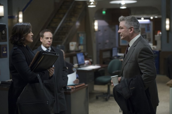 LAW & ORDER: SPECIAL VICTIMS UNIT -- ''Criminal Stories'' Episode 1518 -- Pictured: (l-r) Mariska Hargitay as Sgt. Olivia Benson, Josh Pais as Deputy Commissioner Hank Abraham, Alec Baldwin as Jimmy MacArthur -- (Photo by: Michael Parmelee/NBC)