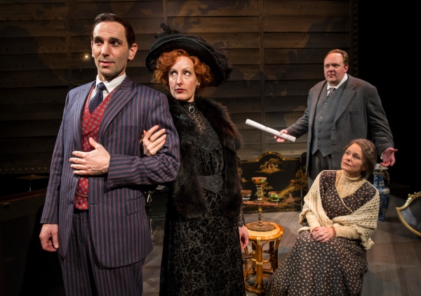 Wilson (Andrew Rothenberg) unleashes his charm on the wealthy widow Myra Yerkes (McKi Photo