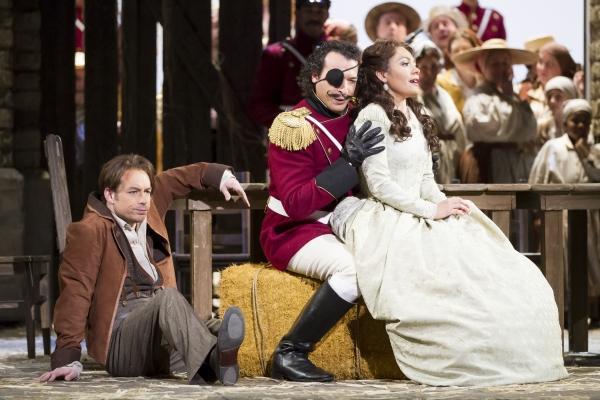 Stephen Costello as Nemorino, Simone Alberghini as Sergeant Belcore, and Ailyn Perez  Photo