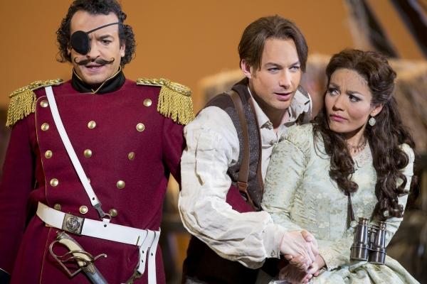 Simone Alberghini as Sergeant Belcore, Stephen Costello as Nemorino, and Ailyn Perez as Adina