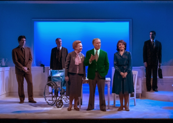 Roberta Maxwell (Lillian Hellman), Dick Cavett, Marcia Rodd (Mary McCarthy); (background, l-r) Rowan Michael Meyer (Ryan), Peter Brouwer (Lester) and Jeff Woodman (Burt)