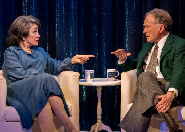 Marcia Rodd (Mary McCarthy) and Dick Cavett (as himself) in Brian Richard Mori''s HELLMAN v. McCARTHY at Abingdon Theatre Company (312 West 36th Street) through April 13.
