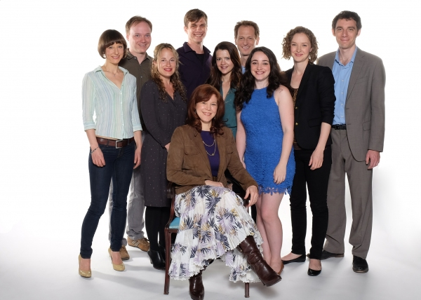 The cast of Time and the Conways: (from left) Sarah Manton, Jonathan Fielding, Morgan Hallett, Lee Aaron Rosen, Kim Martin-Cotten (seated), Rose Hemingway, Leo Marks, Leanne Agmon, Amanda Quaid, and Max Gordon Moore.