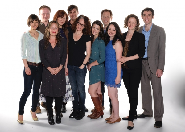 Director Rebecca Taichman (center) with the cast of Time and the Conways: (from left) Sarah Manton, Jonathan Fielding, Morgan Hallett, Kim Martin-Cotten, Lee Aaron Rosen, Rose Hemingway, Leo Marks, Leanne Agmon, Amanda Quaid, and Max Gordon Moore.