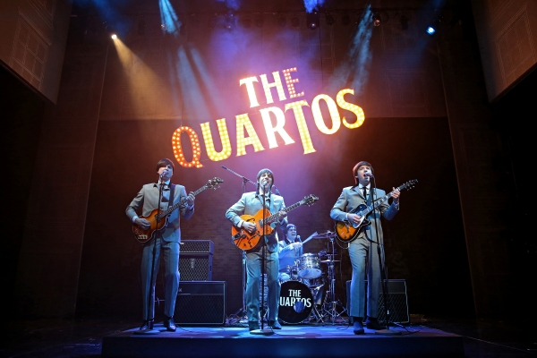 The Quartos: Bryan Fenkart as Claude, Lucas Papaelias as Balth, James Barry as Pedro (on drums), and David Wilson Barnes as Ben