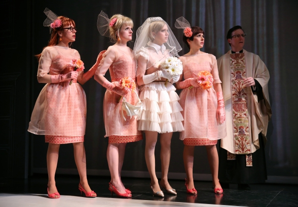 Ceci Fernandez as Frida, Keira Naughton as Ulcie, Ariana Venturi as Higgy, Jeanine Serralles as Bea, and Brad Heberlee as the priest