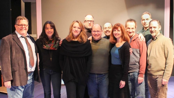 James Morgan (York Producing Artistic Director), Cameron Adams, Emily Skinner, Bob Richard, Stephen Cole, David Kran, Lynn Halliday, Jason Graae Andrew Levine (York Executive Director) and Lawrence Goldberg