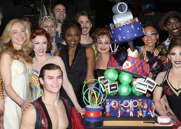 Rachel Bay Jones, Charlotte D''Amboise, Orion Griffiths, Patina Miller, Erik Altemus, Annie Potts and Anthony Wayne with the cast
