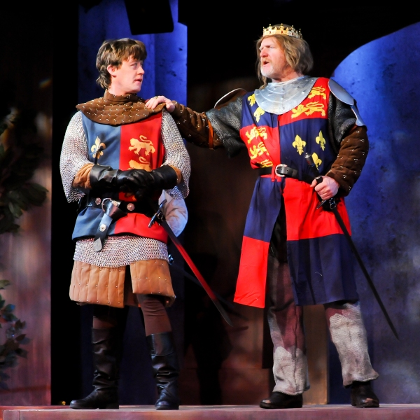 Justin McCombs (Prince Hal) and Jim Hopkins (King Henry IV)