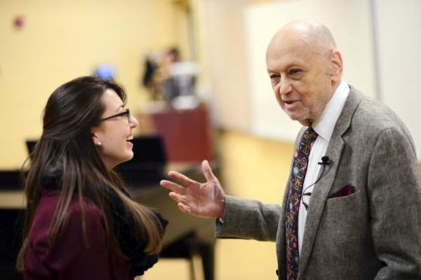 Charles Strouse with HPU junior Ashley Siebeneichen, who interned with him last summer.