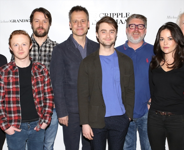 Conor MacNeill, Padraic Delaney, Director Michael Grandage, Daniel Radcliffe, Pat Shortt and Sarah Greene attend the meet and greet for the Michael Grandage Company Production of ''The Cripple of Inishmaan'' at the Signature Theatre Center on April 2, 201