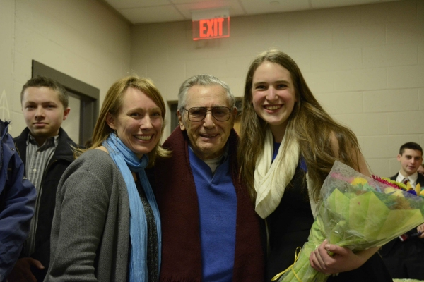 Director Jessica Spillane and Stage Manager Larissa Mark with Al Larson  Photo