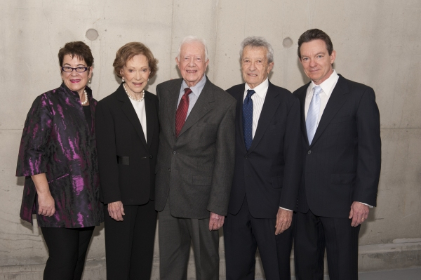 Director Molly Smith, Rosalynn Carter, President Jimmy Carter, producer Gerald Rafshoon and playwright Lawrence Wright