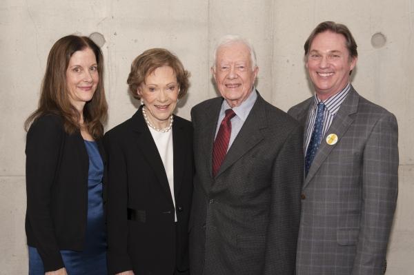 Cast member Hallie Foote (as Rosalynn Carter), Rosalynn Carter, President Jimmy Carter and cast member Richard Thomas (as Jimmy Carter)