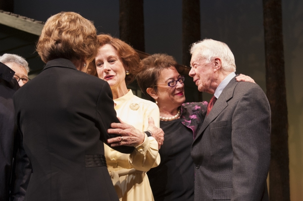 President Jimmy Carter and Rosalynn Carter greet cast member Hallie Foote (as Rosalynn Carter) and director Molly Smith during the opening night curtain call