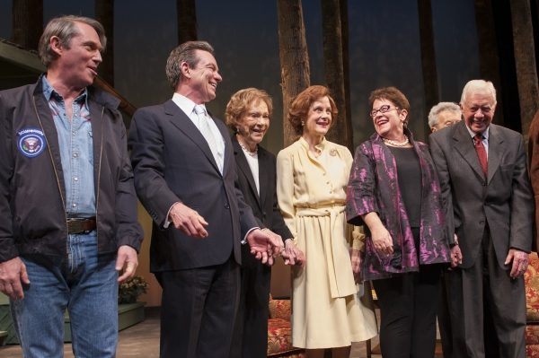 President Jimmy Carter and Rosalynn Carter join the company of Camp David onstage for the opening night curtain call at Arena Stage at the Mead Center for American Theater. (L to R) Cast member Richard Thomas (as Jimmy Carter), playwright Lawrence Wright,