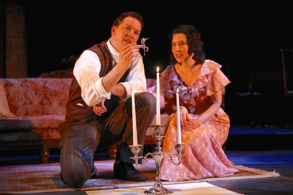 Michael Kirby (as The Gentleman Caller) and Adriana Gaviria (as Laura)
