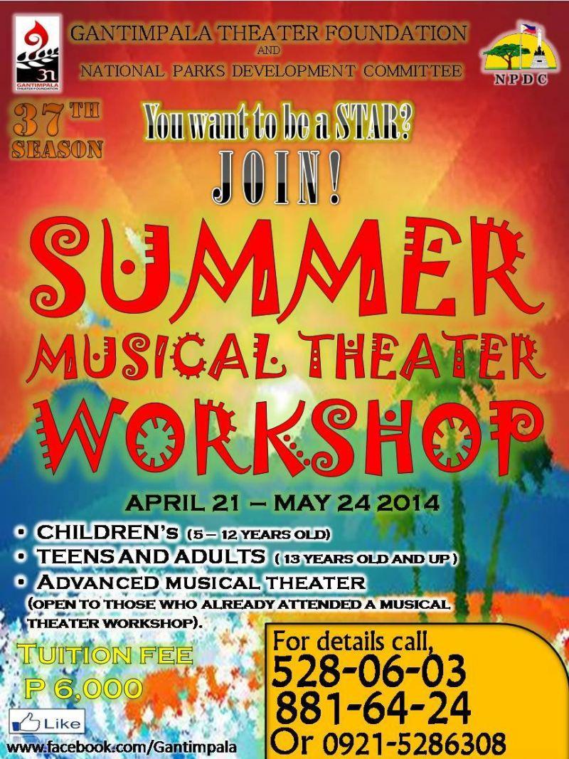 Join GANTIMPALA THEATER Summer Workshops, 4/21-5/24