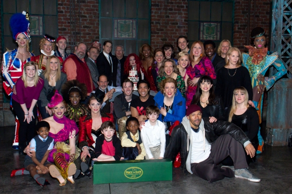 Harvey Fierstein, Cyndi Lauper, Daryl Roth and the cast of KINKY BOOTS
