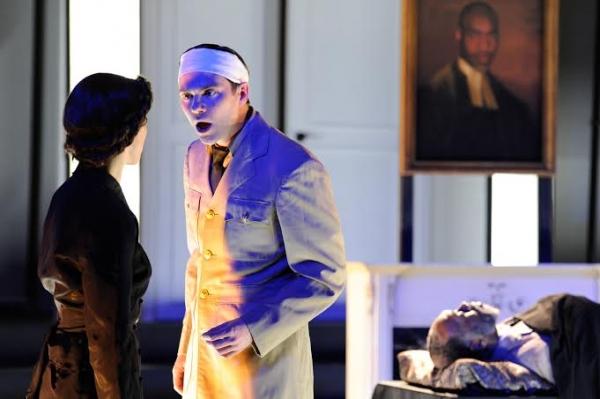 Mattie Hawkinson (Lavinia Mannon), Josh Carpenter (Orin Mannon), and Robert Jason Jackson (Ezra Mannon)
