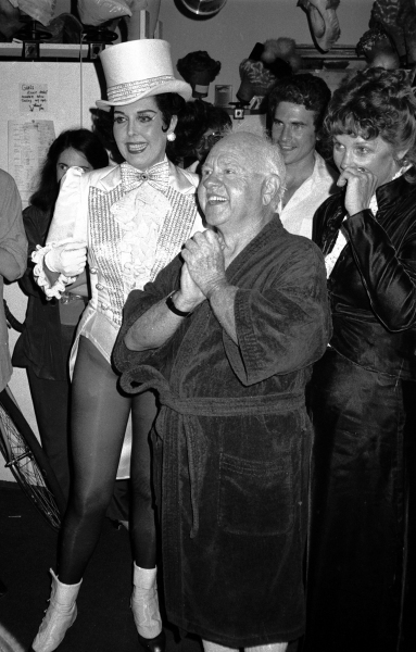 Ann Miller and Mickey Rooney .with his wife Jan Chamberlain.Backstage after a Performance in Sugar Babies at the Mark Hellinger Theatre, New York City..June 1980.