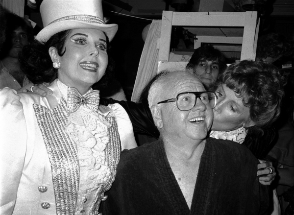 Ann Miller and Mickey Rooney .with his wife Jan Chamberlain.Backstage after a Performance in Sugar Babies at the Mark Hellinger Theatre, New York City..June 1980.© Walter McBride/WM Photography
