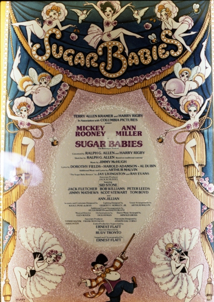 Theatre Marquee for Ann Miller & Mickey Rooney starring in Sugar Babies opening on Broadway at the Mark Hellinger Theatre on October 8, 1979 in New York City