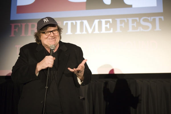 Michael Moore chatting with the audience following the FIRST TIME FEST screening of ROGER AND ME