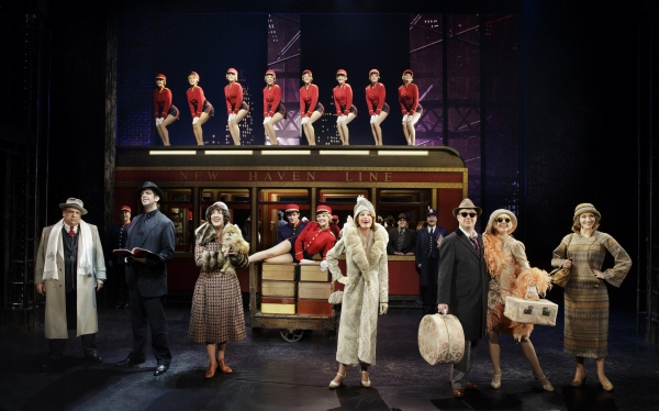 (foreground) Vincent Pastore, Nick Cordero, Karen Ziemba, Marin Mazzie, Brooks Ashmanskas, Helene Yorke and Betsy Wolfe with the Cast of BULLETS OVER BROADWAY