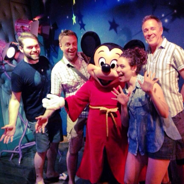 Alex Mendoza, Michael Colavolpe, Mickey Mouse, Bonne Tomlinson and Mark Harmon Photo