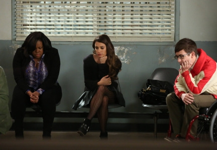 """GLEE: After Kurt is attached Mercedes (Amber Riley, L), Rachel (Lea Michele, C) and Artie (Kevin McHale, R) wait in the hospital in the """"Bash"""" episode of GLEE airing Tuesday, April 8 (8:00-9:00 PM ET/PT) on FOX. ©2014 Fox Broadcasting Co. C"""