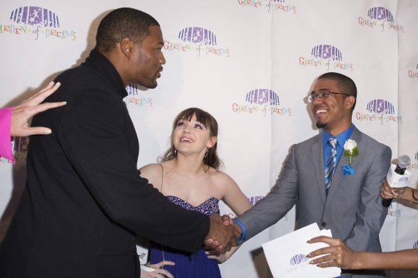 Jeremy Brown, Brittany DeLuca, Michael Strahan. Credit: MSG Photos Photo