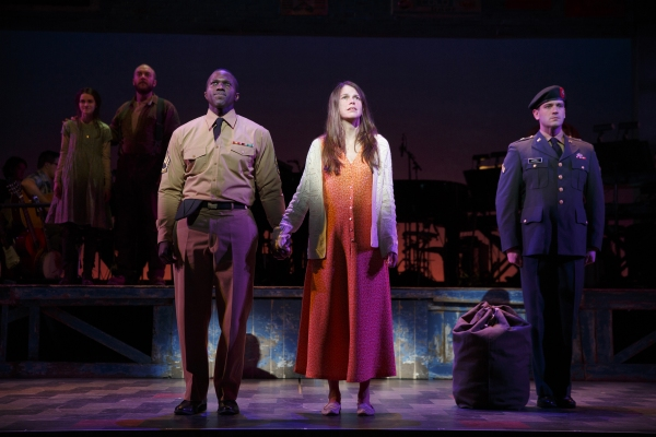 Background: Emerson Steele, Alexander Gemignani. Foreground: Joshua Henry, Sutton Foster, Colin Donnell